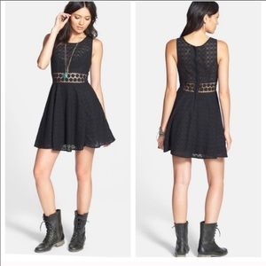Free People NWT Black Cut Out Flower Lace Dress